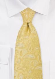 XL Bright Yellow Paisley TIe