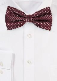 Elegant Pin Dot Bow Tie in Burgundy