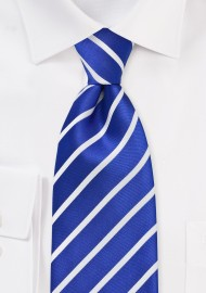 Marine Blue and White Tie in Extra Long