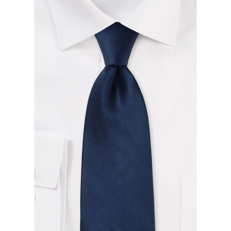 Dark Navy Silk Tie in XL Length