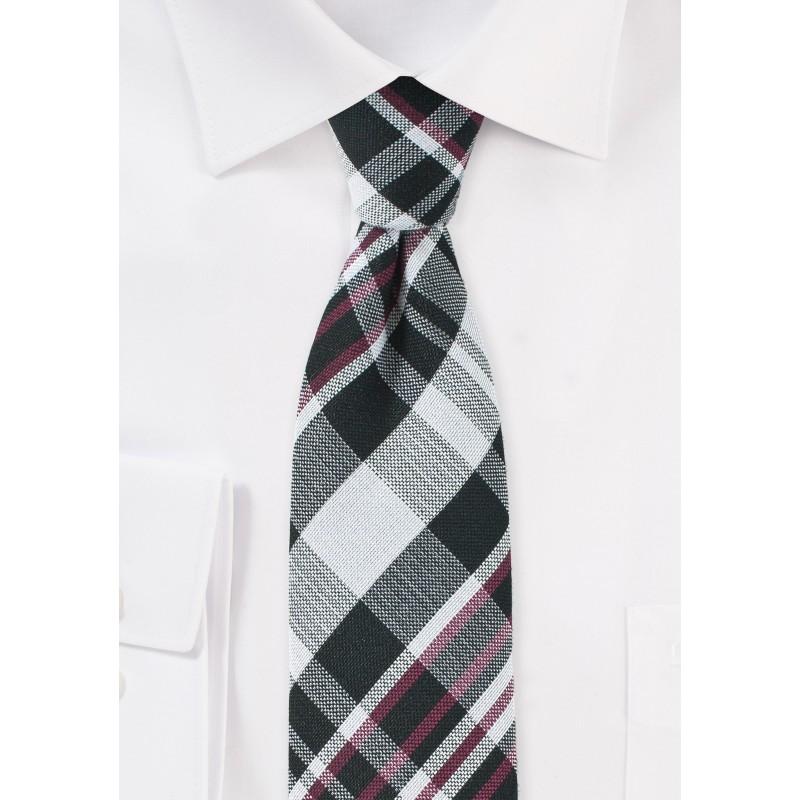 Cotton Plaid Tie in Black, Silver, Red