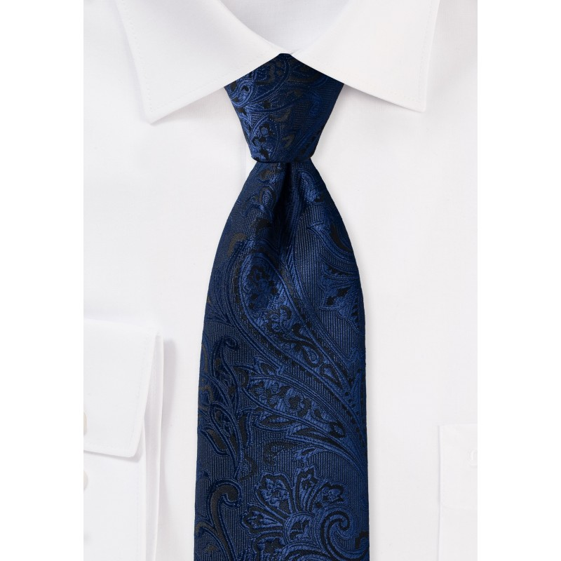 Paisley Kids Tie in Midnight Navy
