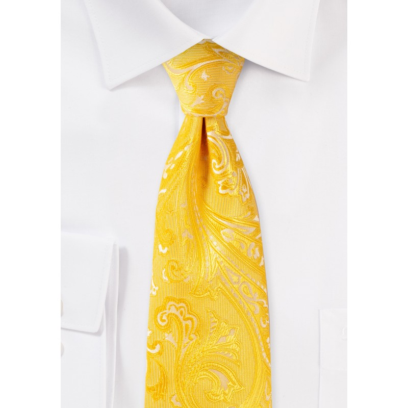 Kids Paisley Tie in Canary Yellow