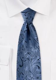 Steel Blue Paisley Tie in XXL