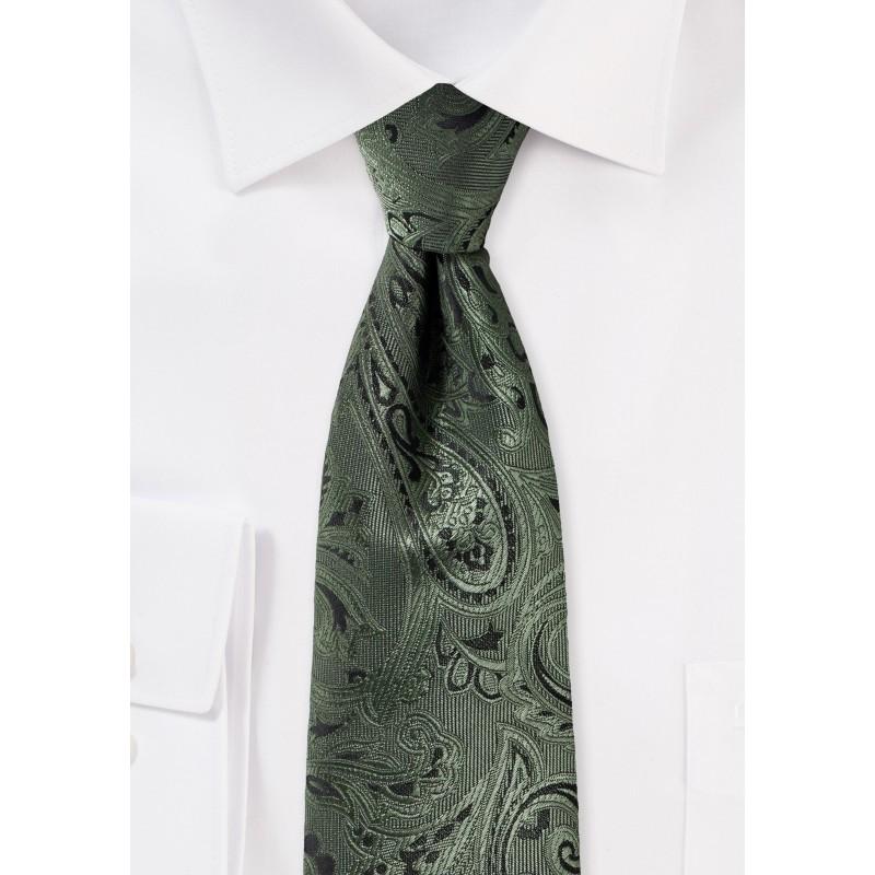 Moss Green Paisley Tie