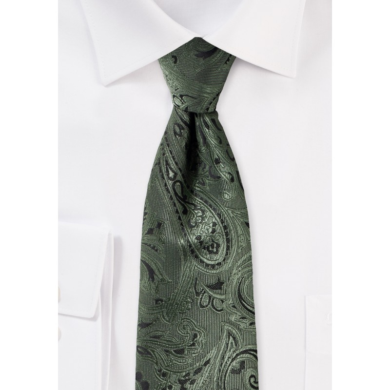 Paisley Tie in Moss in XL