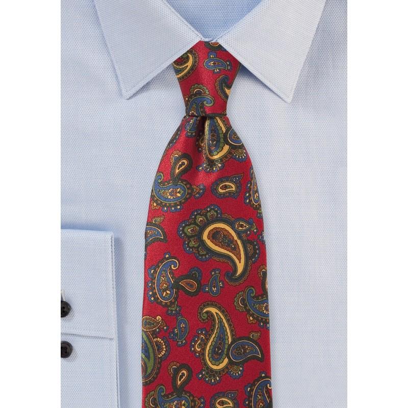 Elegant Paisley Tie in Imperial Red