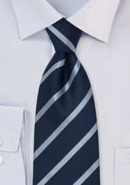 Repp Stripe Tie in Dark Navy and Light Blue