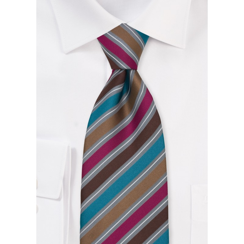 Modern Striped Tie in Brown, Pink, Gray, and Teal
