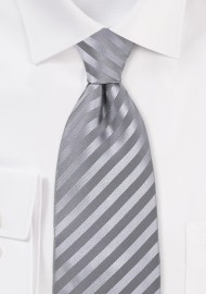 Silver-Gray Silk Tie in Extra Long Length