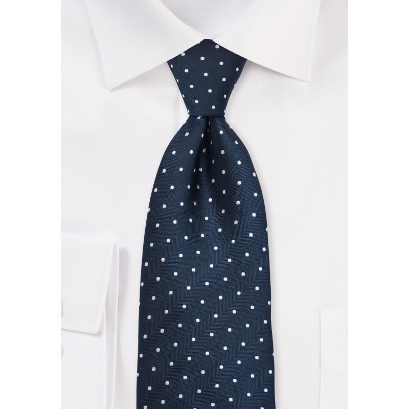 Navy & Silver Polka Dot Tie