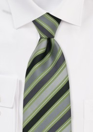 Silver, Gray, and Green Silk Tie