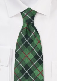 Green and Black Tartan Check Pattern Tie