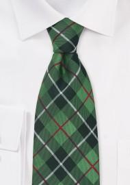 XL Tie in Tartan Check Green Black