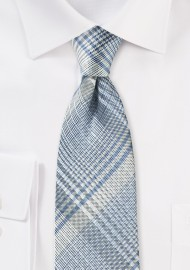 Modern Plaid Tie in Silver, Gray, and Blue
