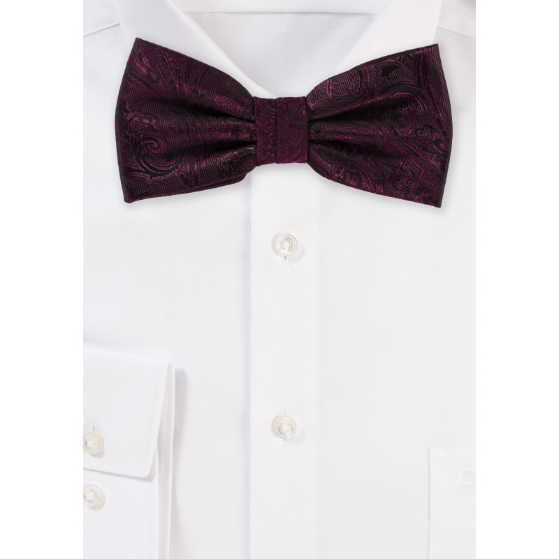Claret Red Paisley Bow Tie