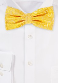 Canary Yellow Paisley Bow Tie