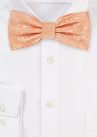 Peach Mens Bow Tie with Paisley Design
