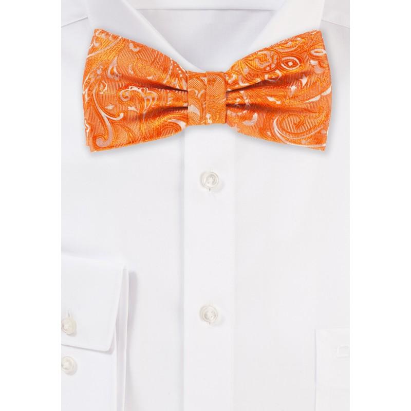 Pre-Tied Paisley Bow Tie in Mandarin