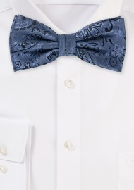 Steel Blue Paisley Bow Tie