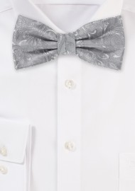 Silver Paisley Bow Tie