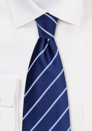 Blue Silk Ties - Navy blue striped necktie