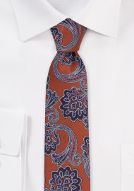 Skinny Autumn Paisley Tie in Copper