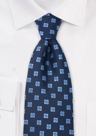 Navy Blue Floral Pattern Tie