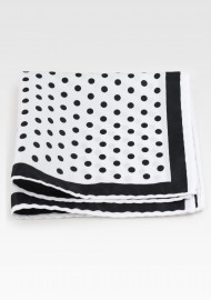 White Pocket Square with Black Dots