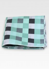 Patchwork Pocket Square Mints and Silvers