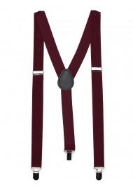 Burgundy Red Elastic Band Suspenders