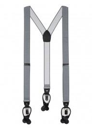 Silver gray pin dot dress suspenders for men