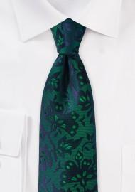 Floral Silk Tie in Pine Green