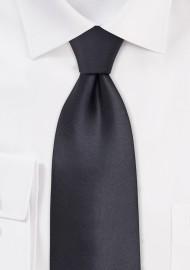 Dark Gray Silk Necktie in XL Length
