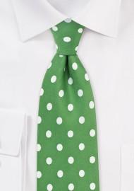 Polka Dot Tie in Grass Green