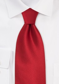 Extra Long Solid Color Red Tie  - Handmade silk tie in solid bright red