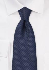 XL Length Navy Blue Tie with Checks