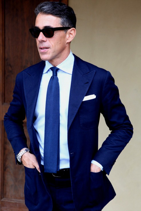 Stylish winter colors for men in 2013 indigo Blue suit shirt tie combinations