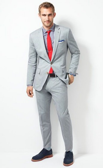 Silver Suit Black Shoes Red Tie