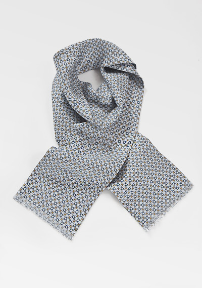 Patterned Silk Scarf in Platinum