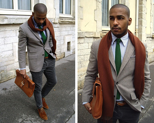 Mens Knit Tie in Green