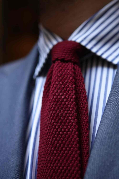 Burgundy Knit Tie for Men