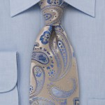 Paisley Tie in Blue and Tan