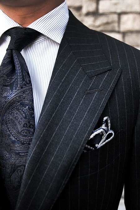 Paisley Tie and Pinstripe Suit