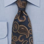 Designer Paisley Tie in Navy and Brown