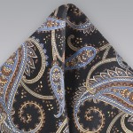 Paisley Pocket Square in Black and Blue