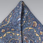 Blue and Yellow Paisley Pocket Square