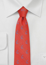 Skinny Fishhook Patterned Tie in Coral