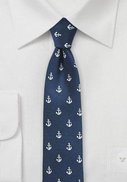 Skinny Nautical Anchor Tie