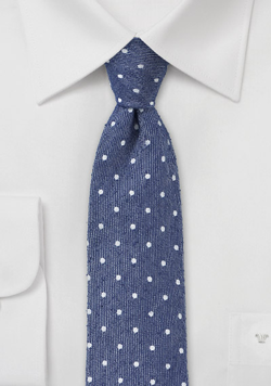 Skinny Polka Dot Tie in Blue
